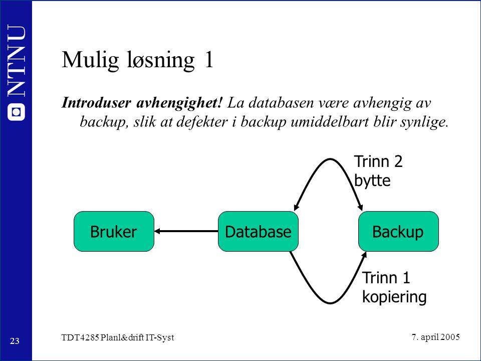 23 7. april 2005 TDT4285 Planl&drift IT-Syst Mulig løsning 1 Introduser avhengighet.