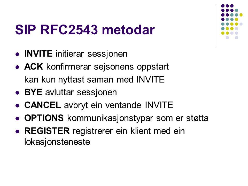 SIP RFC2543 metodar INVITE initierar sessjonen ACK konfirmerar sejsonens oppstart kan kun nyttast saman med INVITE BYE avluttar sessjonen CANCEL avbry