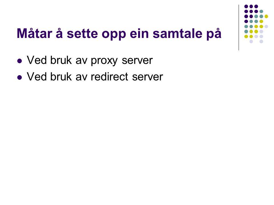Måtar å sette opp ein samtale på Ved bruk av proxy server Ved bruk av redirect server