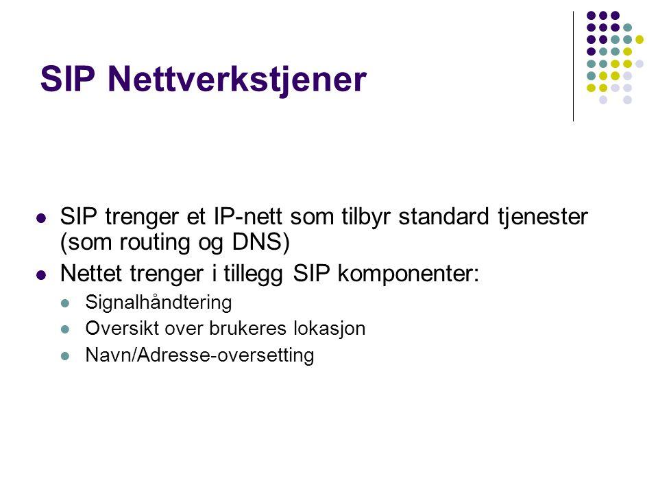 SIP Nettverkstjener SIP trenger et IP-nett som tilbyr standard tjenester (som routing og DNS) Nettet trenger i tillegg SIP komponenter: Signalhåndteri