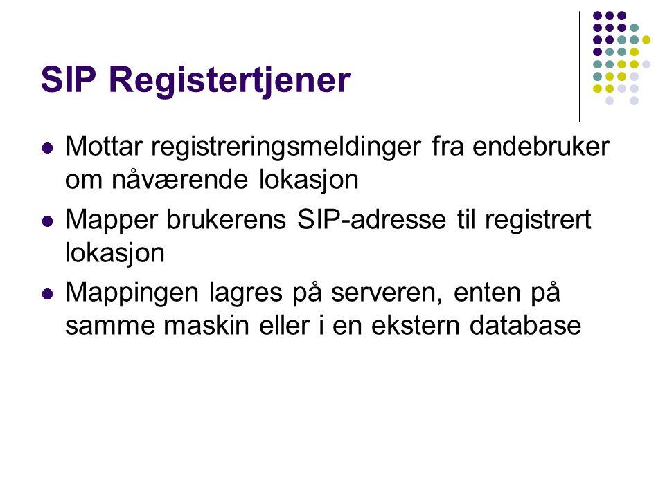 SIP Registertjener Mottar registreringsmeldinger fra endebruker om nåværende lokasjon Mapper brukerens SIP-adresse til registrert lokasjon Mappingen l