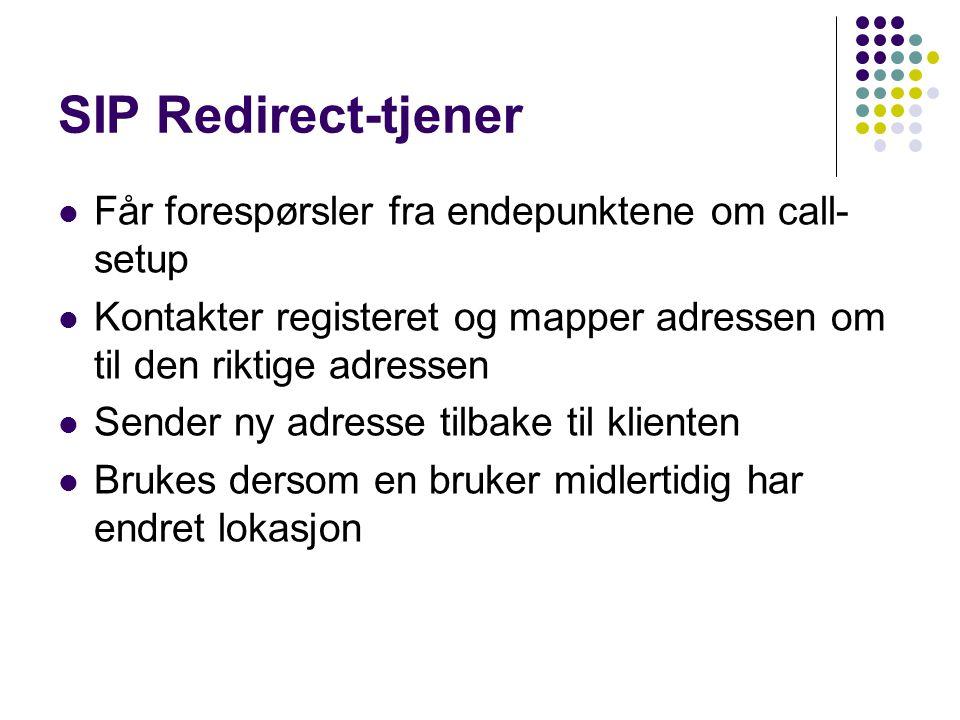 SIP Redirect-tjener Får forespørsler fra endepunktene om call- setup Kontakter registeret og mapper adressen om til den riktige adressen Sender ny adr