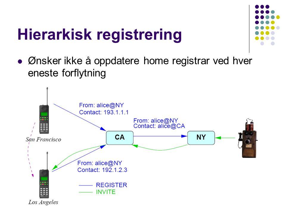 Hierarkisk registrering Ønsker ikke å oppdatere home registrar ved hver eneste forflytning