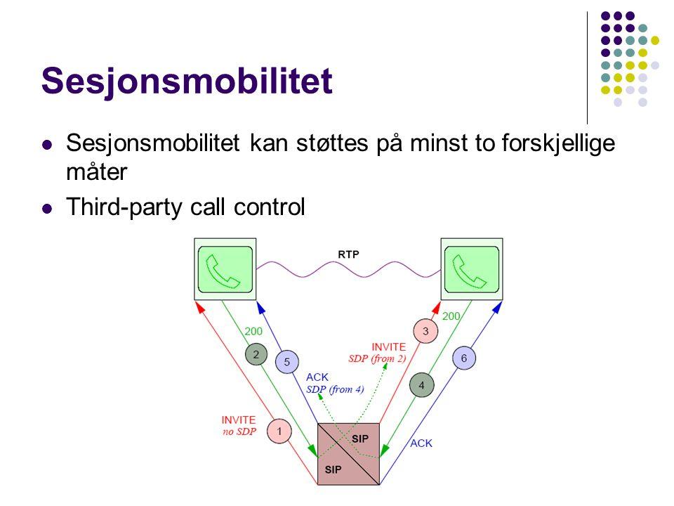 Sesjonsmobilitet Sesjonsmobilitet kan støttes på minst to forskjellige måter Third-party call control