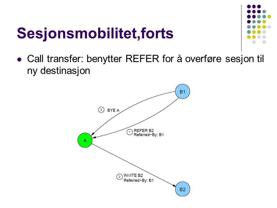 Sesjonsmobilitet,forts Call transfer: benytter REFER for å overføre sesjon til ny destinasjon