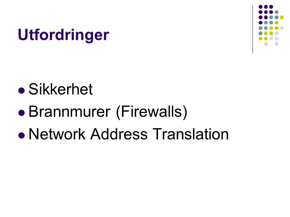 Utfordringer Sikkerhet Brannmurer (Firewalls) Network Address Translation