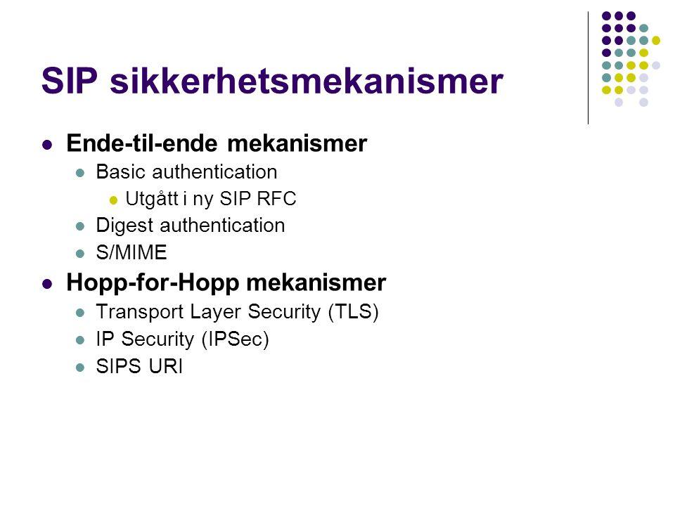 SIP sikkerhetsmekanismer Ende-til-ende mekanismer Basic authentication Utgått i ny SIP RFC Digest authentication S/MIME Hopp-for-Hopp mekanismer Trans