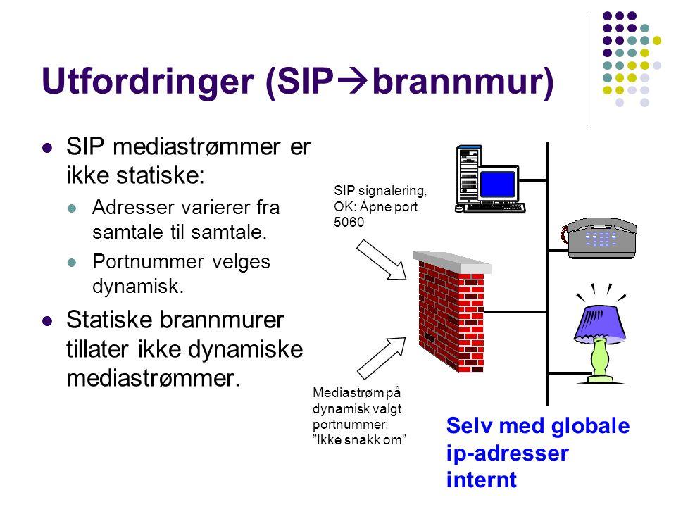 Utfordringer (SIP  brannmur) SIP mediastrømmer er ikke statiske: Adresser varierer fra samtale til samtale. Portnummer velges dynamisk. Statiske bran