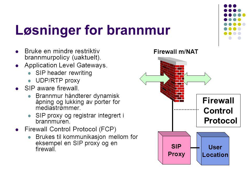 Løsninger for brannmur Bruke en mindre restriktiv brannmurpolicy (uaktuelt). Application Level Gateways. SIP header rewriting UDP/RTP proxy SIP aware