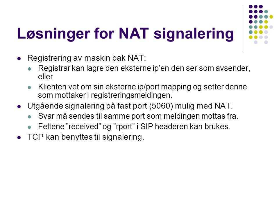 Løsninger for NAT signalering Registrering av maskin bak NAT: Registrar kan lagre den eksterne ip'en den ser som avsender, eller Klienten vet om sin e