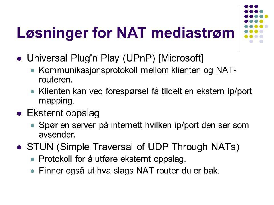 Løsninger for NAT mediastrøm Universal Plug'n Play (UPnP) [Microsoft] Kommunikasjonsprotokoll mellom klienten og NAT- routeren. Klienten kan ved fores