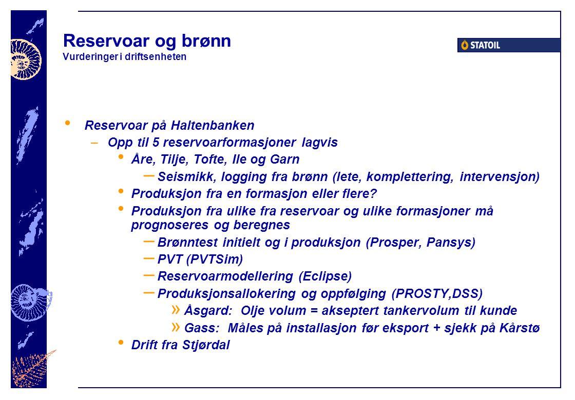 Reservoar og brønn Vurderinger i driftsenheten Reservoar på Haltenbanken –Opp til 5 reservoarformasjoner lagvis Åre, Tilje, Tofte, Ile og Garn – Seism