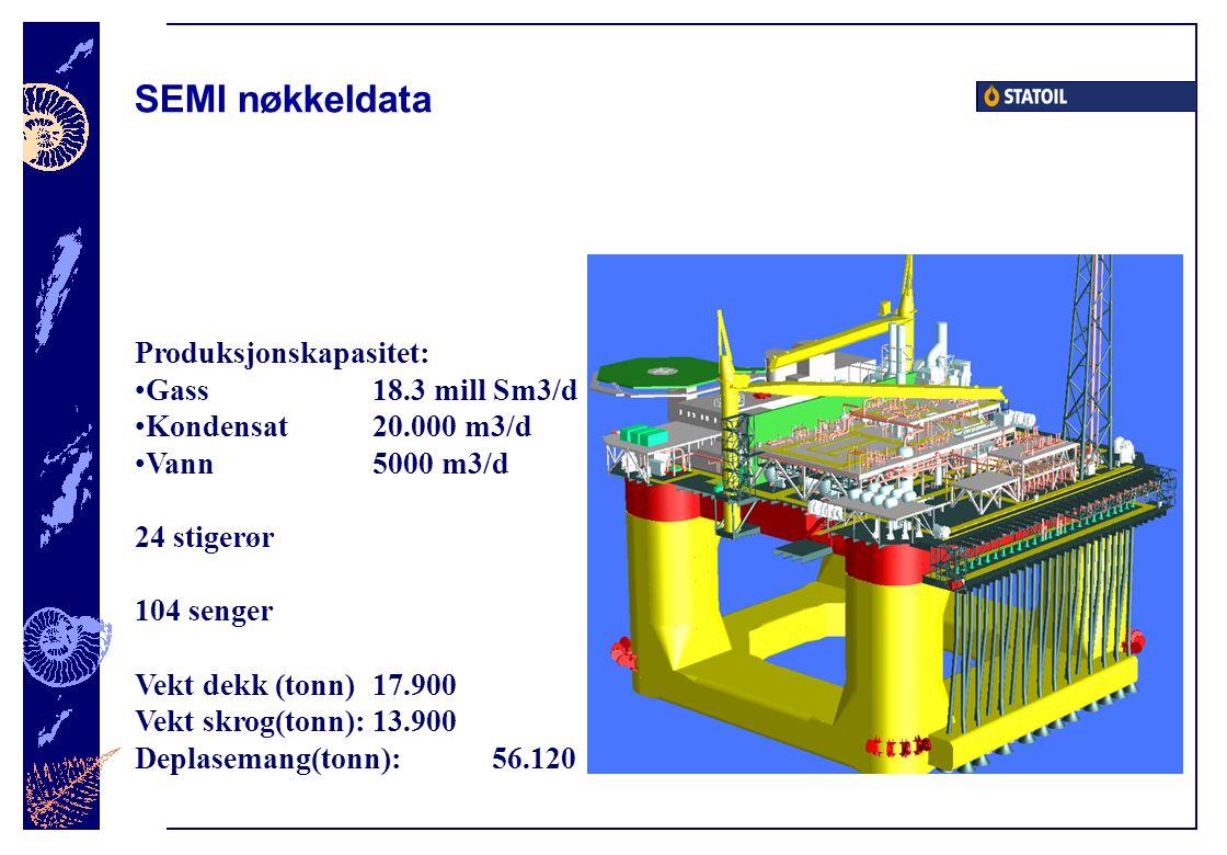 Produksjonskapasitet: Gass 18.3 mill Sm3/d Kondensat 20.000 m3/d Vann5000 m3/d 24 stigerør 104 senger Vekt dekk (tonn)17.900 Vekt skrog(tonn):13.900 Deplasemang(tonn):56.120 SEMI nøkkeldata