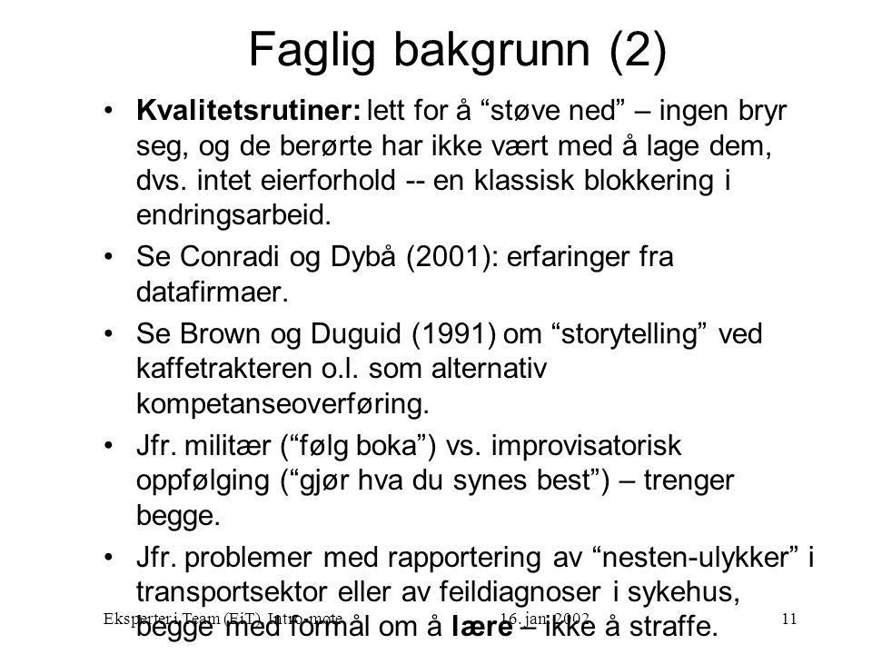 """Eksperter i Team (EiT), Intro-møte16. jan. 200211 Faglig bakgrunn (2) Kvalitetsrutiner: lett for å """"støve ned"""" – ingen bryr seg, og de berørte har ikk"""