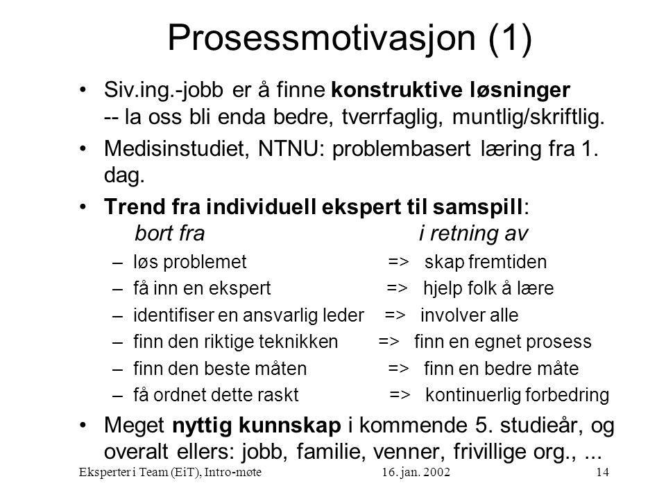 Eksperter i Team (EiT), Intro-møte16. jan. 200214 Prosessmotivasjon (1) Siv.ing.-jobb er å finne konstruktive løsninger -- la oss bli enda bedre, tver
