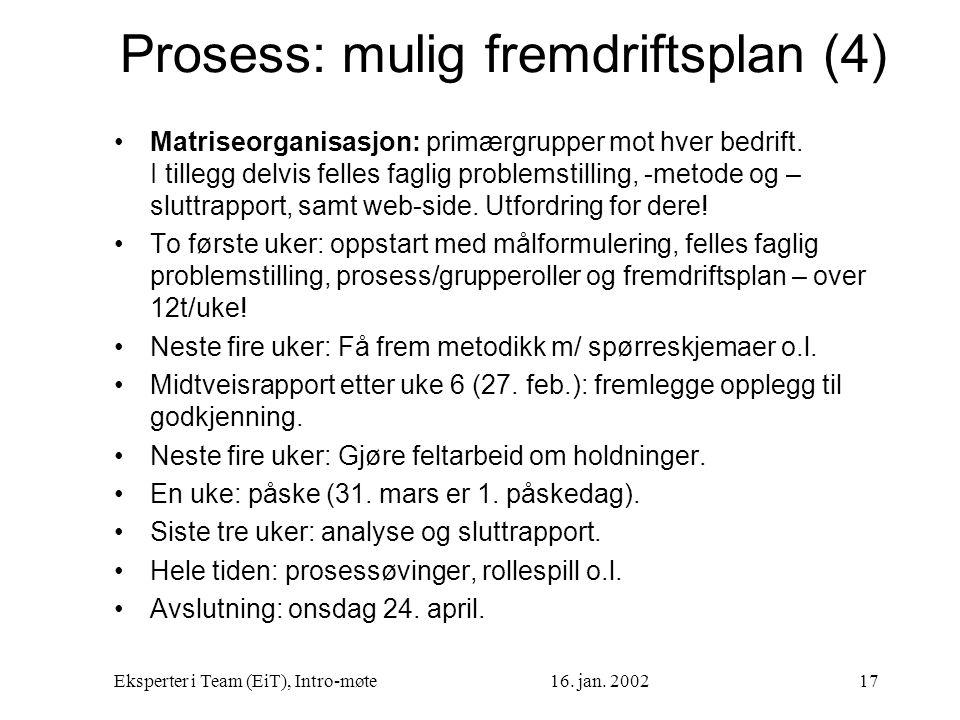 Eksperter i Team (EiT), Intro-møte16. jan. 200217 Prosess: mulig fremdriftsplan (4) Matriseorganisasjon: primærgrupper mot hver bedrift. I tillegg del