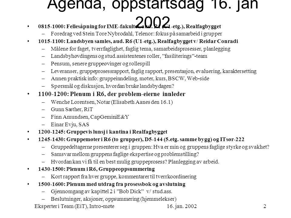 Eksperter i Team (EiT), Intro-møte16. jan. 20022 Agenda, oppstartsdag 16. jan 2002 0815-1000: Fellesåpning for IME-fakultet, aud. R1 (U1-etg.), Realfa