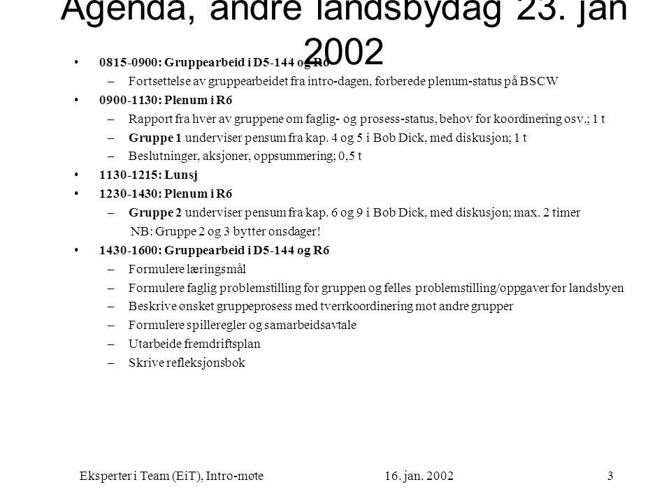 Eksperter i Team (EiT), Intro-møte16. jan. 20023 Agenda, andre landsbydag 23. jan 2002 0815-0900: Gruppearbeid i D5-144 og R6 –Fortsettelse av gruppea
