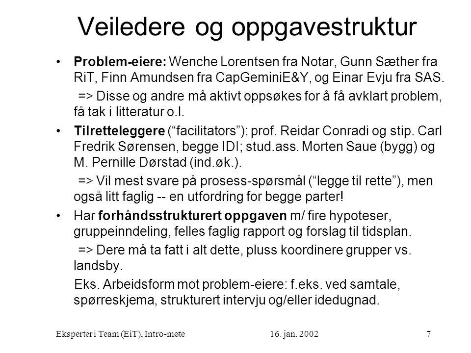 Eksperter i Team (EiT), Intro-møte16. jan. 20027 Veiledere og oppgavestruktur Problem-eiere: Wenche Lorentsen fra Notar, Gunn Sæther fra RiT, Finn Amu