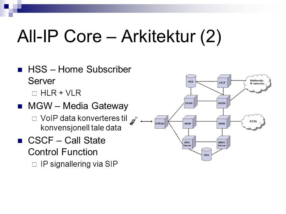 All-IP Core – Arkitektur (2) HSS – Home Subscriber Server  HLR + VLR MGW – Media Gateway  VoIP data konverteres til konvensjonell tale data CSCF – C