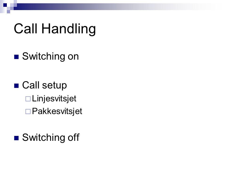 Call Handling Switching on Call setup  Linjesvitsjet  Pakkesvitsjet Switching off
