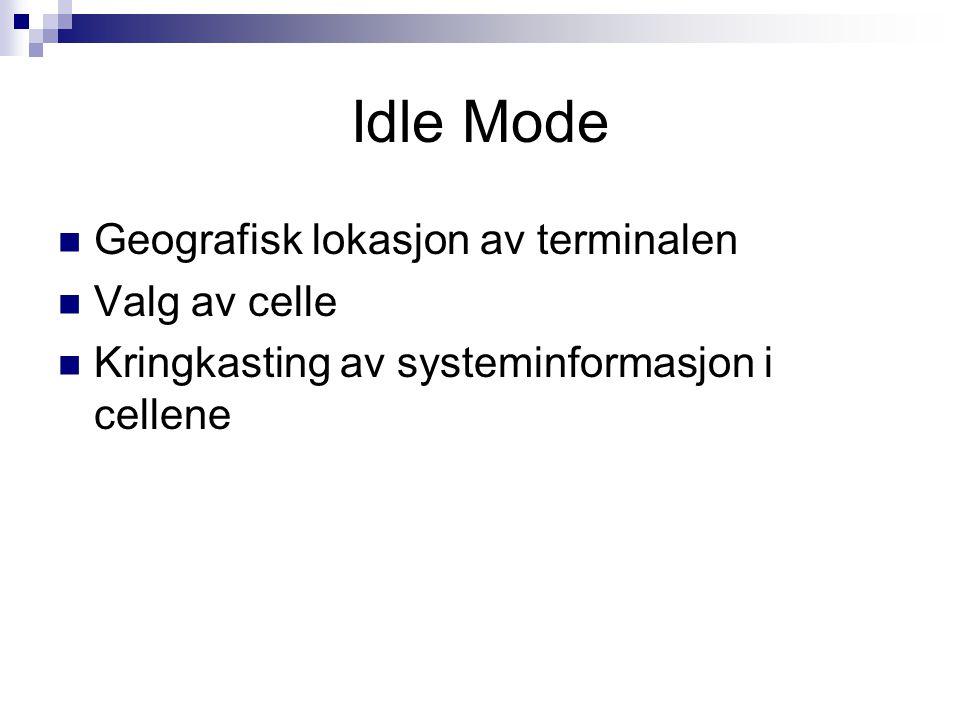 Idle Mode Geografisk lokasjon av terminalen Valg av celle Kringkasting av systeminformasjon i cellene