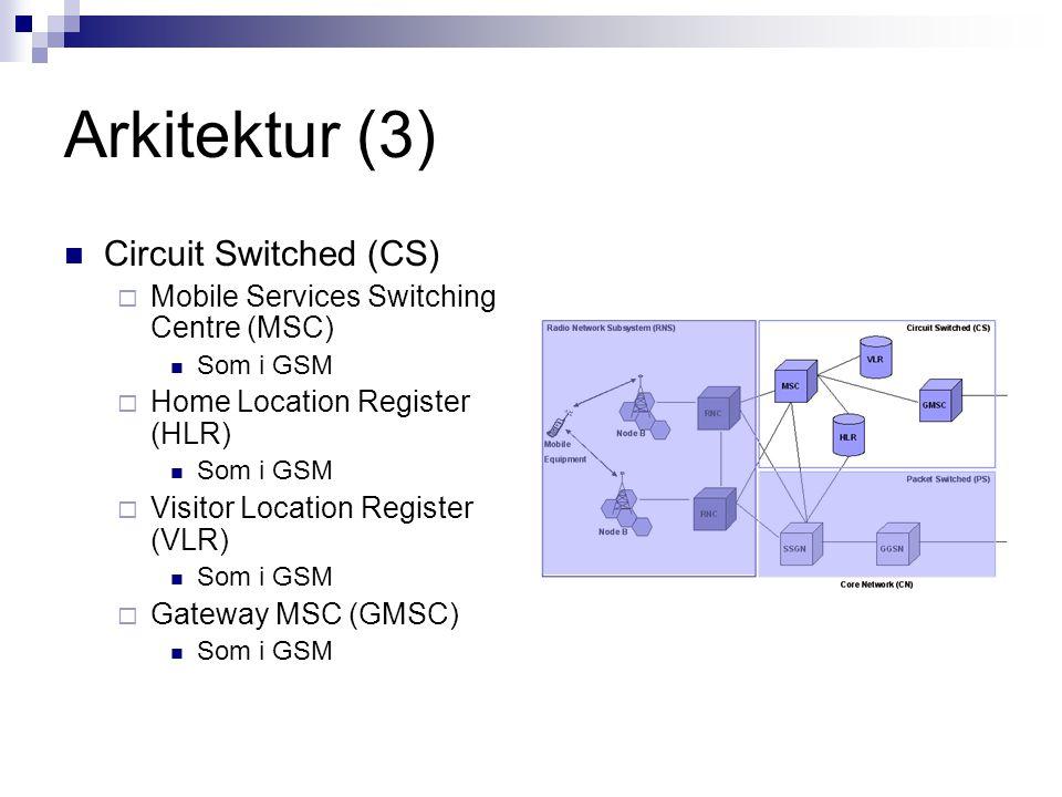 Arkitektur (4) Packet Switched (PS)  Serving GPRS Support Node (SGSN) Som i GSM  Gateway GPRS Support Node (GGSN) Som i GSM