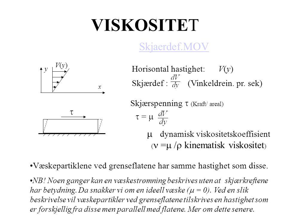 8 VISKOSITET x y V(y)V(y) Horisontal hastighet: V(y) Skjærdef : (Vinkeldrein. pr. sek) Skjærspenning  (Kraft/ areal)  =   dynamisk viskositetskoef