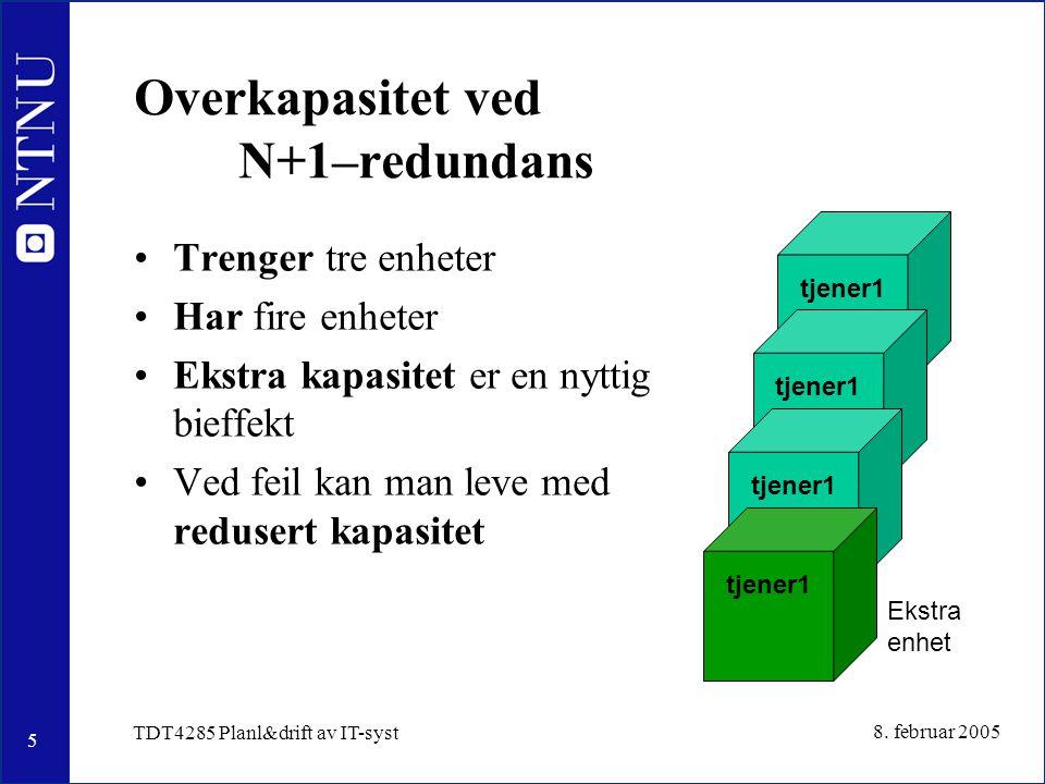 5 8. februar 2005 TDT4285 Planl&drift av IT-syst Overkapasitet ved N+1–redundans Trenger tre enheter Har fire enheter Ekstra kapasitet er en nyttig bi