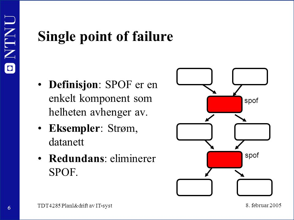 6 8. februar 2005 TDT4285 Planl&drift av IT-syst Single point of failure Definisjon: SPOF er en enkelt komponent som helheten avhenger av. Eksempler: