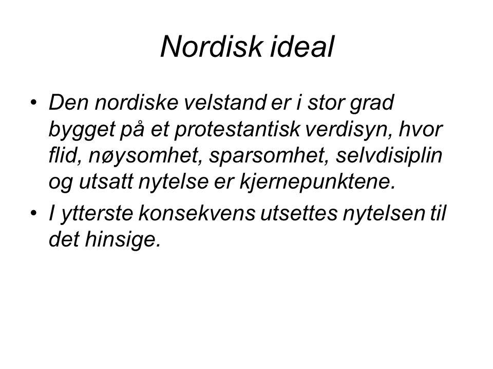 Nordisk ideal Den nordiske velstand er i stor grad bygget på et protestantisk verdisyn, hvor flid, nøysomhet, sparsomhet, selvdisiplin og utsatt nytel