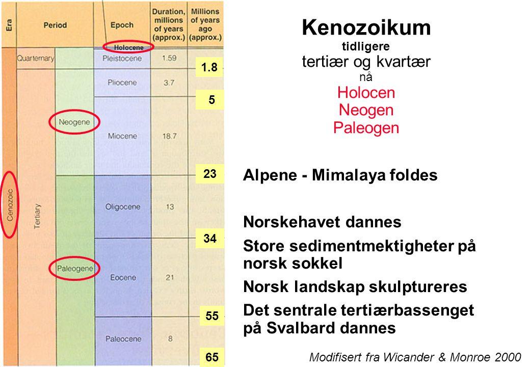 Kenozoikum tidligere tertiær og kvartær nå Holocen Neogen Paleogen Alpene - Mimalaya foldes Norskehavet dannes Store sedimentmektigheter på norsk sokkel Norsk landskap skulptureres Det sentrale tertiærbassenget på Svalbard dannes Modifisert fra Wicander & Monroe 2000 Holocene 65 5 23 34 55 1.8