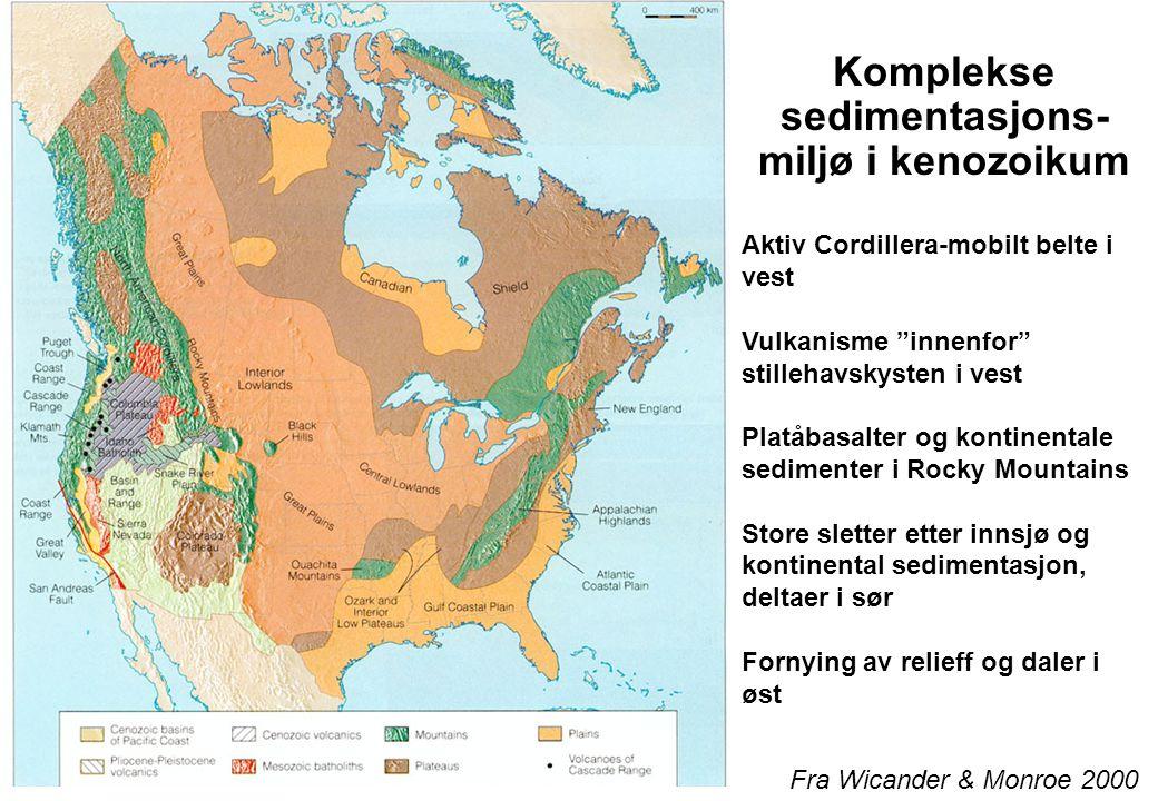 Fra Wicander & Monroe 2000 Komplekse sedimentasjons- miljø i kenozoikum Aktiv Cordillera-mobilt belte i vest Vulkanisme innenfor stillehavskysten i vest Platåbasalter og kontinentale sedimenter i Rocky Mountains Store sletter etter innsjø og kontinental sedimentasjon, deltaer i sør Fornying av relieff og daler i øst