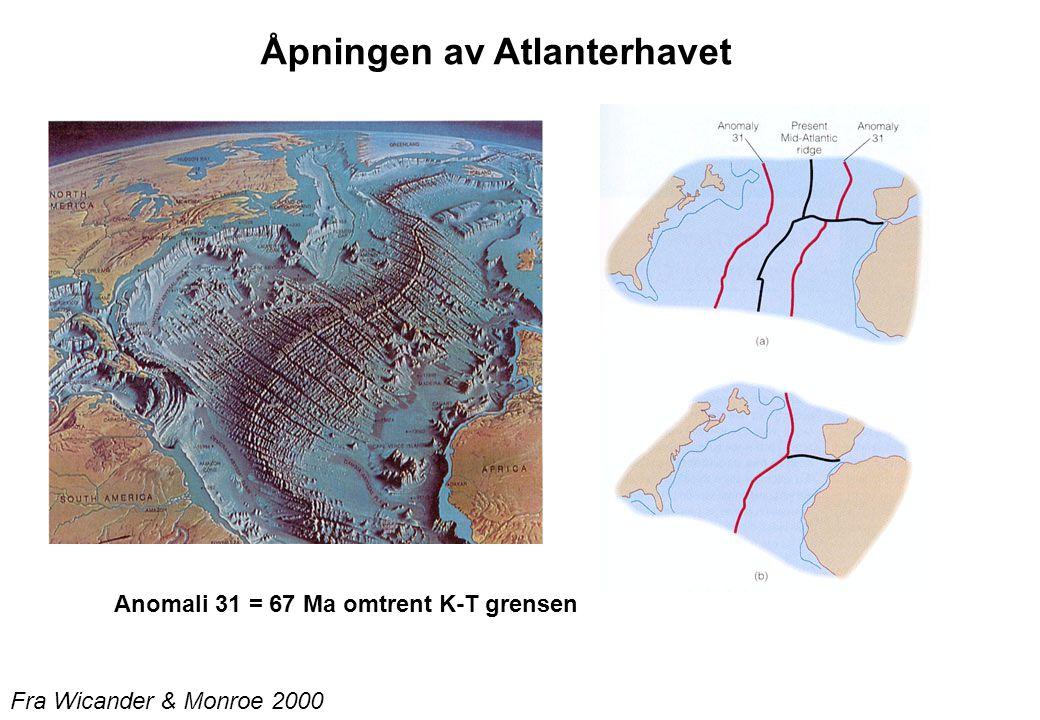 Anomali 31 = 67 Ma omtrent K-T grensen Fra Wicander & Monroe 2000 Åpningen av Atlanterhavet