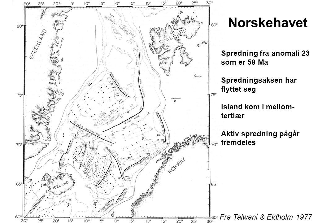 Fra Talwani & Eldholm 1977 Spredning fra anomali 23 som er 58 Ma Spredningsaksen har flyttet seg Island kom i mellom- tertiær Aktiv spredning pågår fremdeles Norskehavet