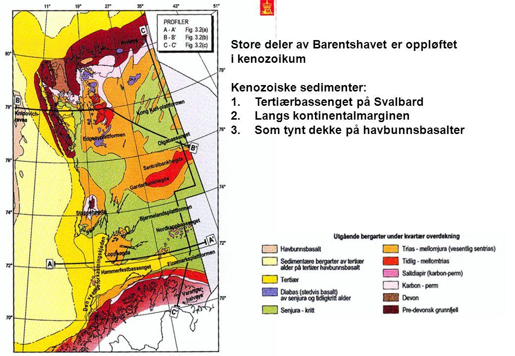 Store deler av Barentshavet er oppløftet i kenozoikum Kenozoiske sedimenter: 1.Tertiærbassenget på Svalbard 2.Langs kontinentalmarginen 3.Som tynt dekke på havbunnsbasalter
