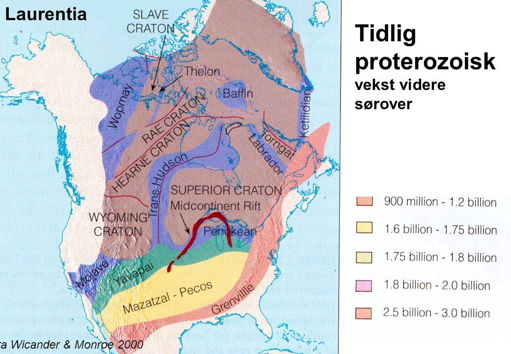 15 Tidlig proterozoisk vekst videre sørover Fra Wicander & Monroe 2000 Laurentia