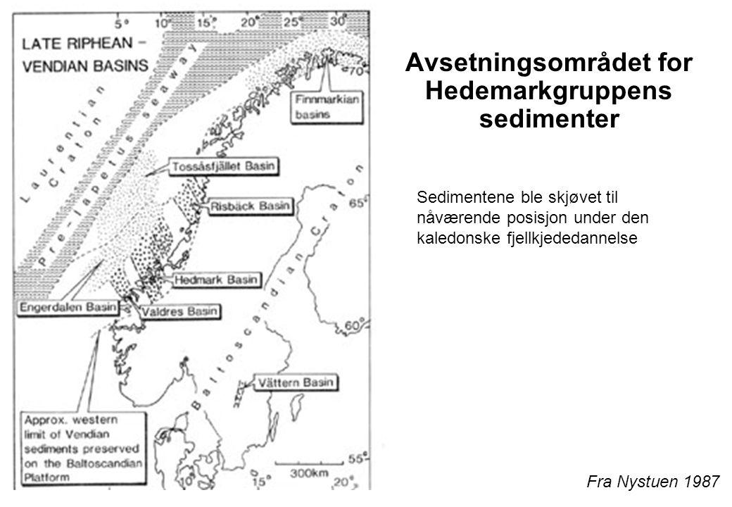 23 Avsetningsområdet for Hedemarkgruppens sedimenter Fra Nystuen 1987 Sedimentene ble skjøvet til nåværende posisjon under den kaledonske fjellkjededa