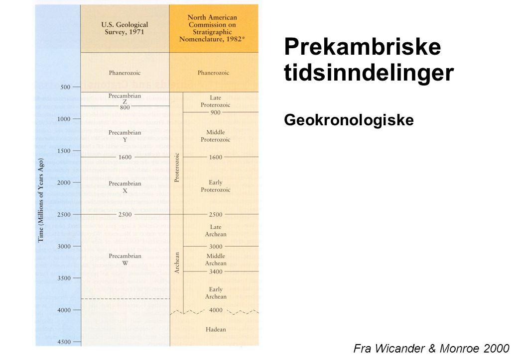 3 Prekambriske tidsinndelinger Geokronologiske Fra Wicander & Monroe 2000