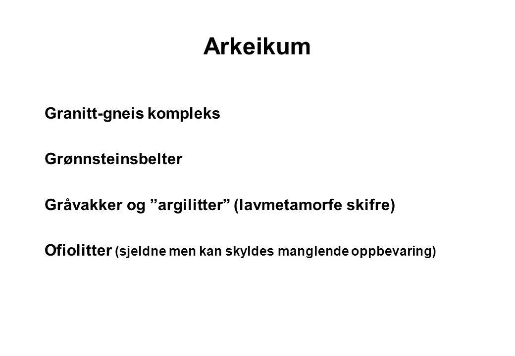 """6 Arkeikum Granitt-gneis kompleks Grønnsteinsbelter Gråvakker og """"argilitter"""" (lavmetamorfe skifre) Ofiolitter (sjeldne men kan skyldes manglende oppb"""