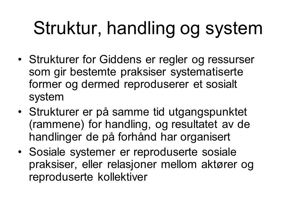 Struktur, handling og system Strukturer for Giddens er regler og ressurser som gir bestemte praksiser systematiserte former og dermed reproduserer et