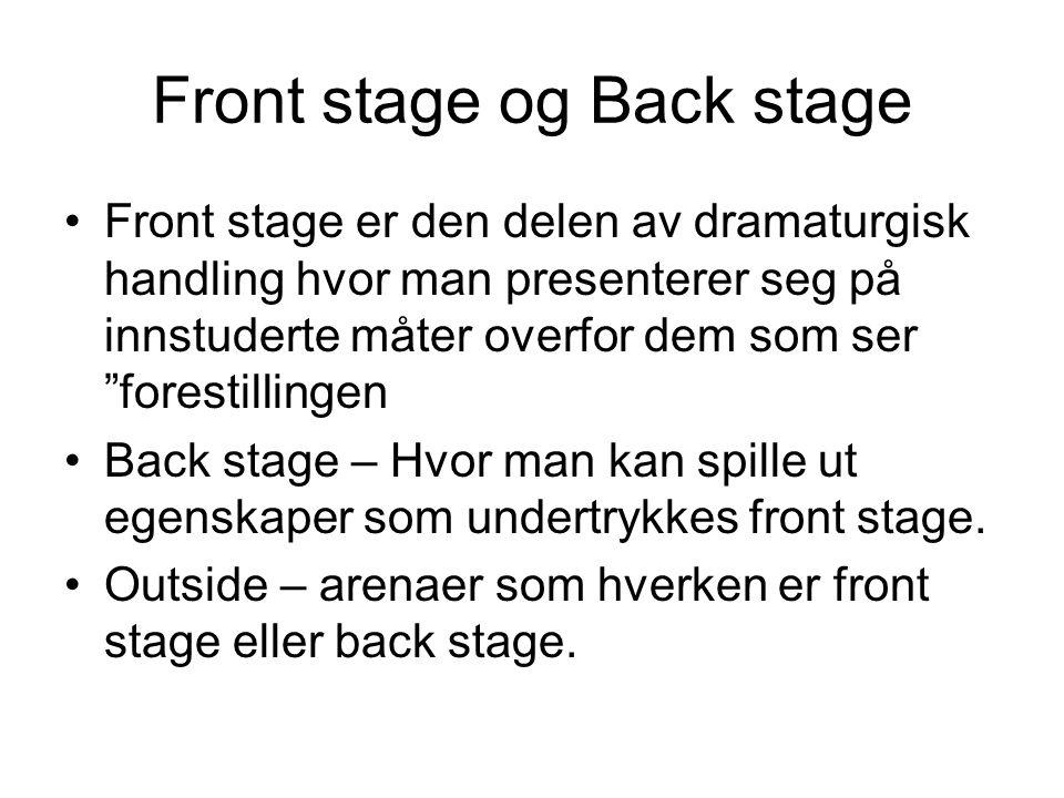 """Front stage og Back stage Front stage er den delen av dramaturgisk handling hvor man presenterer seg på innstuderte måter overfor dem som ser """"foresti"""