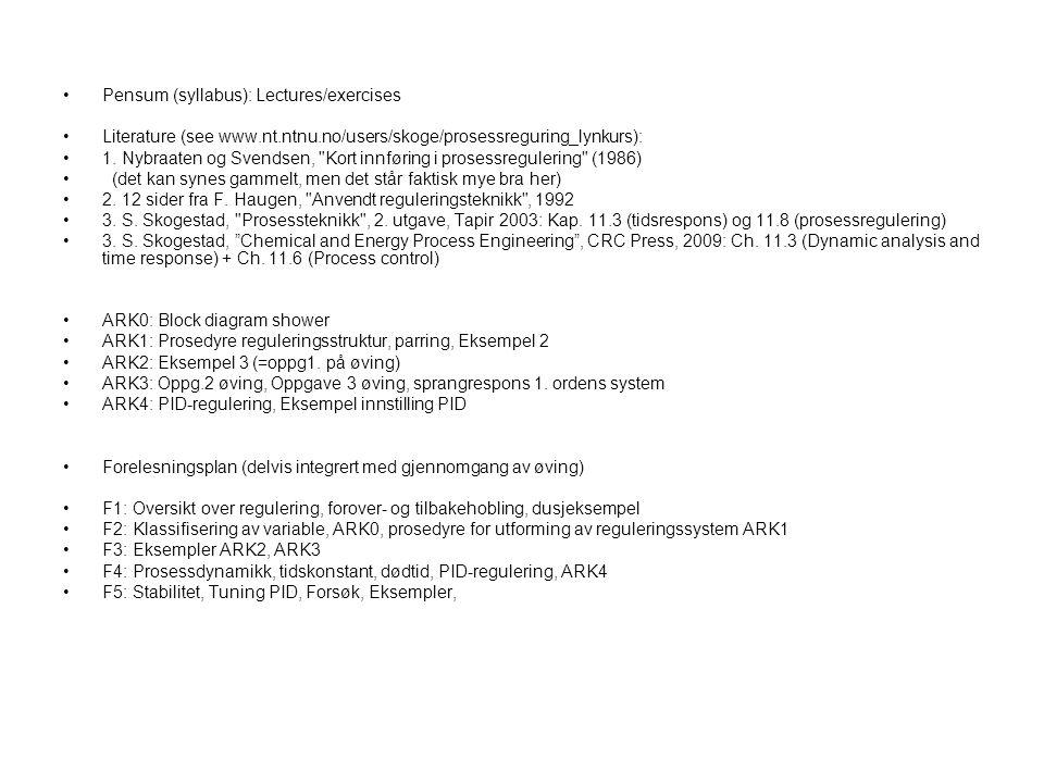 EnglishNorskEnglishNorsk Controlregulering OperationdriftLoopSløyfe MeasurementmålingValveVentil Disturbance DVforstyrrelseGainForsterkning Manipulated var (MV) = input Pådrag = inngang Time delay = dead time (θ) Tidsforsinkelse = dødtid (θ) Controlled variab.