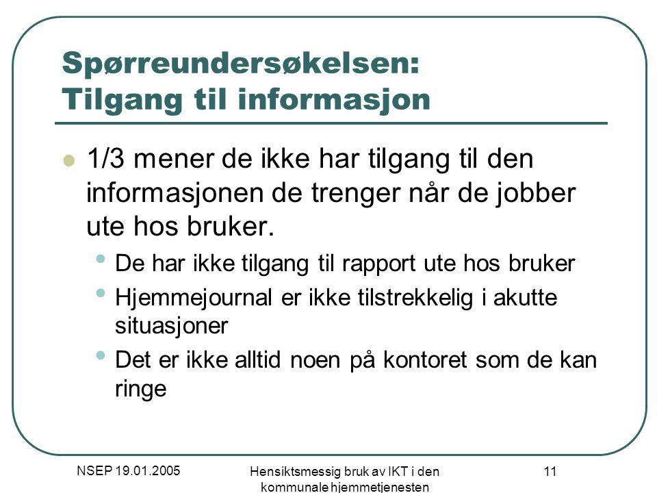 NSEP 19.01.2005 Hensiktsmessig bruk av IKT i den kommunale hjemmetjenesten 11 Spørreundersøkelsen: Tilgang til informasjon 1/3 mener de ikke har tilga