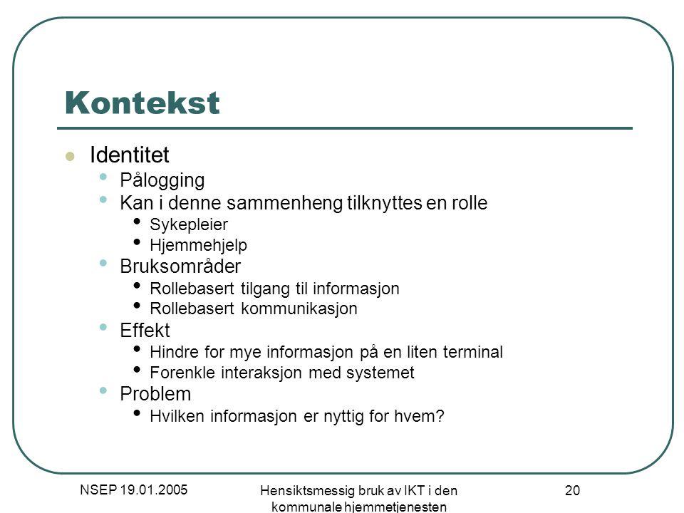 NSEP 19.01.2005 Hensiktsmessig bruk av IKT i den kommunale hjemmetjenesten 20 Kontekst Identitet Pålogging Kan i denne sammenheng tilknyttes en rolle