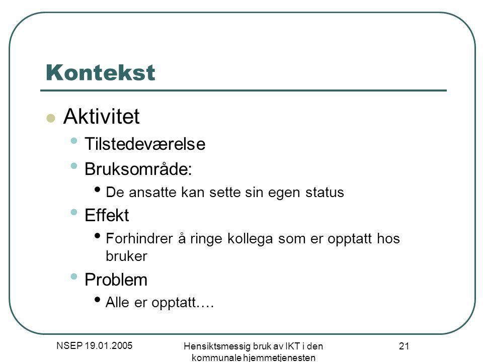 NSEP 19.01.2005 Hensiktsmessig bruk av IKT i den kommunale hjemmetjenesten 21 Kontekst Aktivitet Tilstedeværelse Bruksområde: De ansatte kan sette sin
