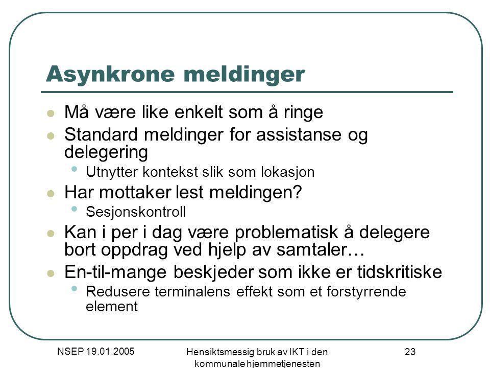 NSEP 19.01.2005 Hensiktsmessig bruk av IKT i den kommunale hjemmetjenesten 23 Asynkrone meldinger Må være like enkelt som å ringe Standard meldinger f