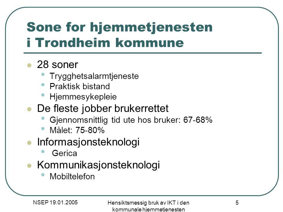NSEP 19.01.2005 Hensiktsmessig bruk av IKT i den kommunale hjemmetjenesten 5 Sone for hjemmetjenesten i Trondheim kommune 28 soner Trygghetsalarmtjene