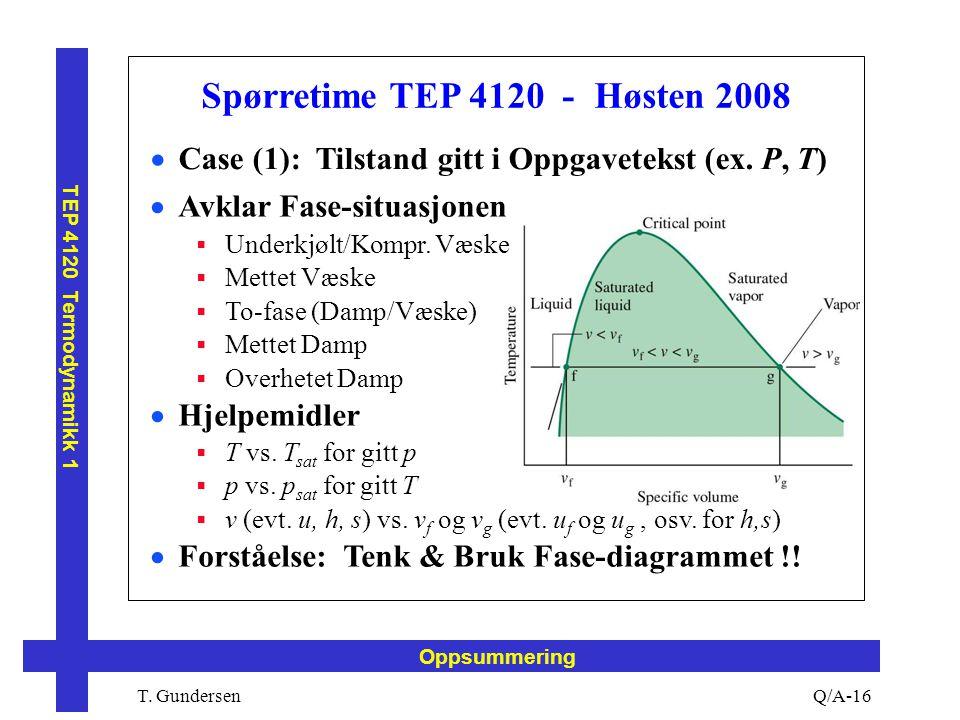 T. Gundersen TEP 4120 Termodynamikk 1 Q/A-16 Oppsummering Spørretime TEP 4120 - Høsten 2008  Case (1): Tilstand gitt i Oppgavetekst (ex. P, T)  Avkl