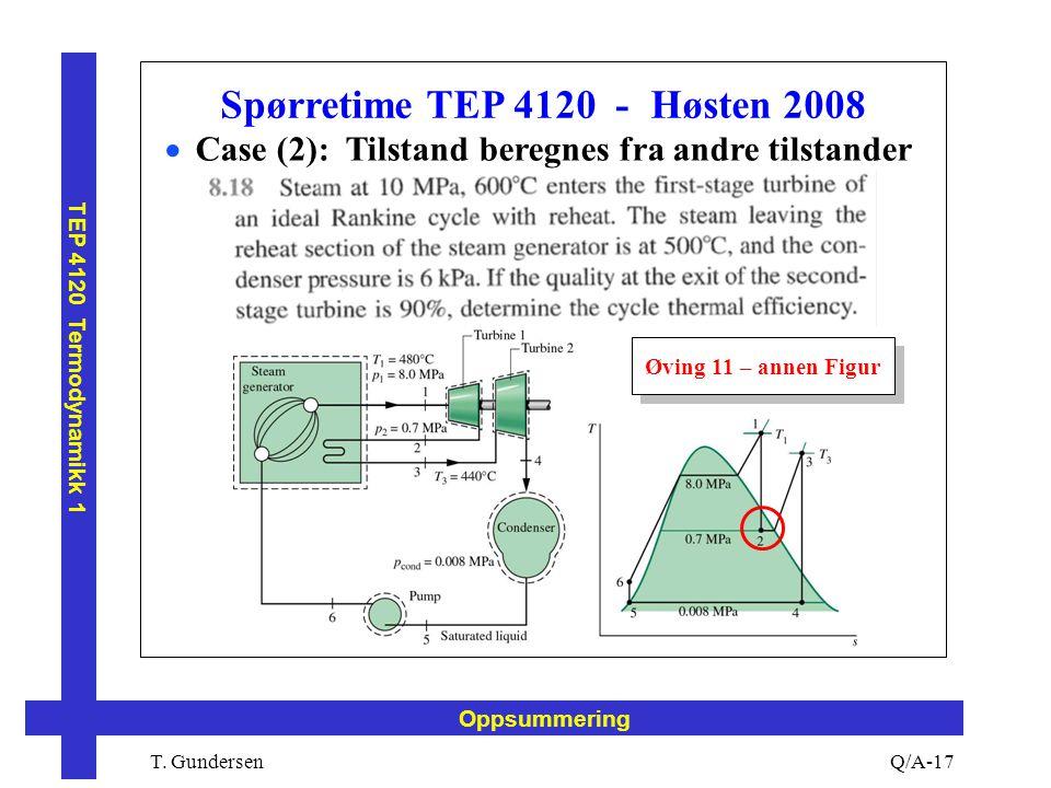T. Gundersen TEP 4120 Termodynamikk 1 Q/A-17 Oppsummering Spørretime TEP 4120 - Høsten 2008  Case (2): Tilstand beregnes fra andre tilstander Øving 1